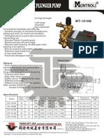 High Pressure Pump  Specification MT-1810