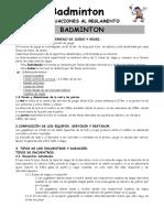 Reglamento de Badminton 09