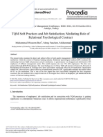 TQM Soft Practices and Job Satisfaction; Mediating Role of Relational Psychological Contract