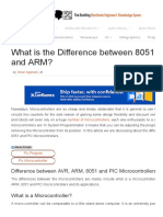 Differencebetween AVR, ARM, 8051 and PIC Microcontrollers