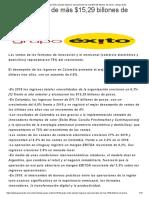 En 2019 Grupo Éxito alcanzó ingresos operacionales de más $15,29 billones de pesos. _ Grupo Éxito - 2