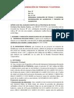 DEMANDA VARIACIÓN DE TENENCIA Y CUSTODIA