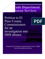 Petition to El Paso County Commissioners for an Investigation into DHS Abuses