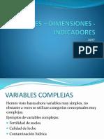 VARIABLES – DIMENSIONES - INDICADORES
