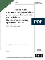 ISO15609-1 Welding Procedure Specification for Metallic Materials