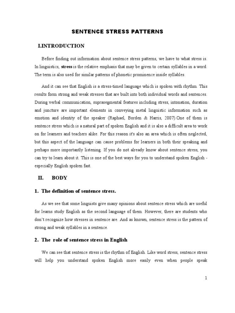 Sentence Stress Pattern | Stress (Linguistics) | English