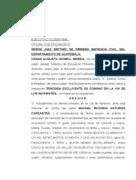 TERCERIA EXCLUYENTE DE DOMINIO EN LA VIA DE LOS INCIDENTES.
