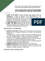 FORMATO CALENDARIO DE ACTIVIDADES DE COORDINACIÓN DE EXPERIENCIA RECEPCIONAL. MAYO-JULIO 2020