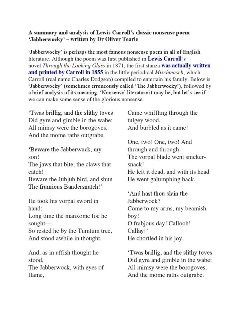 Literary analysis of jabberwocky sports thesis topics