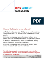 Writing Coherent Paragraphs