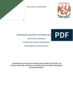 COMPARATIVA DEL PROCESO DE CONSTRUCCION CON PANEL ESTRUCTURAL Y UN PROCESO TRADICIONAL.