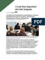 Article de presse - les langues étrangères