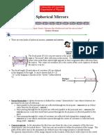 Light and Optics - Spherical Mirrors - Physics 299