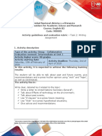 Activity guide and evaluation rubric - Task 2 - Writing assignment - Production