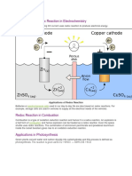 Applications of Redox Reaction in Electrochemistry