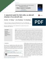 A Numerical Model for Bird Strike on the Sidewall