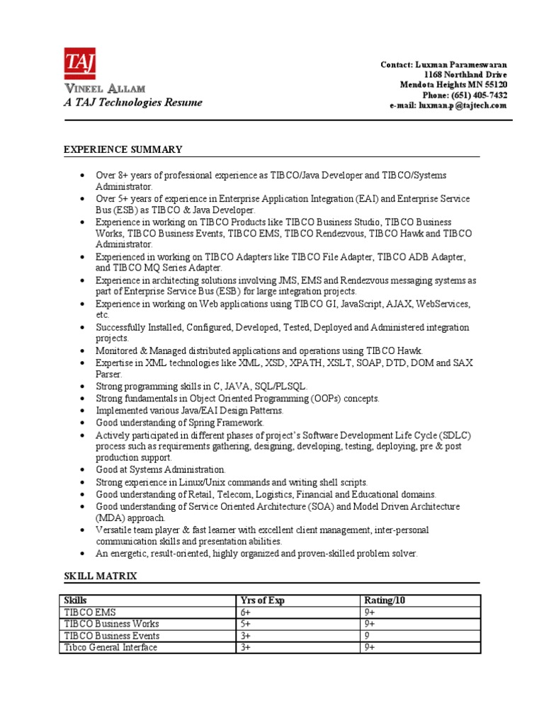 outstanding tibco administrator sample resume collection examples
