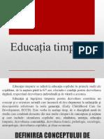 Educația timpurie - tema 1