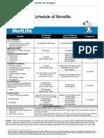 MetLife Vision Benefit Summary