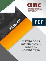 MEMORIA III FORO DE LA SOCIEDAD CIVIL SOBRE LA AGENDA 2030