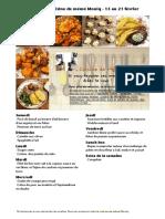 Menu de La Cuisine de Meme Moniq 15 Au 21 Fevrier