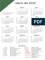 Calendario 2020 - Con Fechas