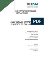 Aglomerado-Curado  y lixiviación en columnas