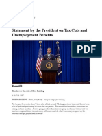Statement by President Barack Obama on Tax Cuts and Unemployment Benefits