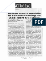 Philippine Daily Inquirer, Feb. 24, 2020, Palace wont meddle in Senate hearing on ABS-CBN franchise.pdf