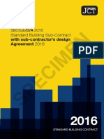 JCT standard building sub-contract with sub-contractor's design - agreement 2016