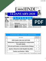 14-01-2020 - The Hindu analysis