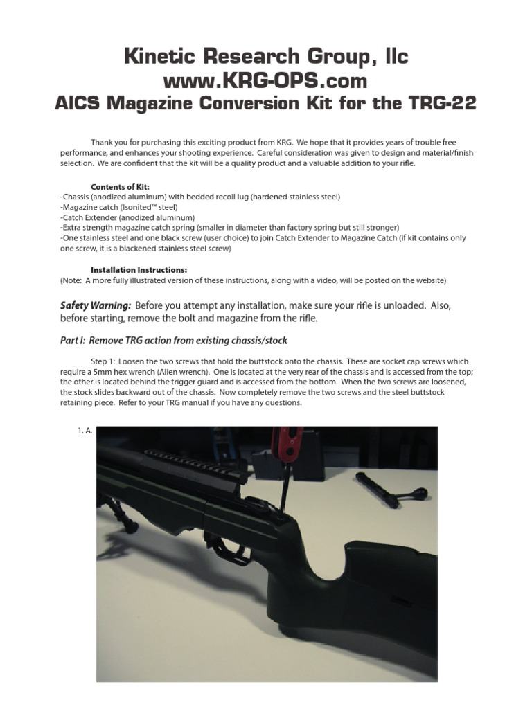Aics Conversion Kit for Trg 22 Manual | Screw | Tools