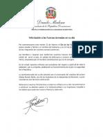 Mensaje de felicitación del presidente Danilo Medina con motivo del Día de las Fuerzas Armadas 2020