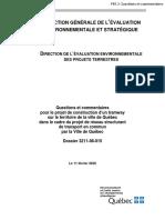 Questions et commentaires sur la construction d'un tramway à Québec