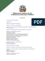 Reglamento Orgánico de las Escuelas Publicas