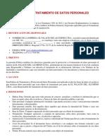POLÍTICA DE TRATAMIENTO DE DATOS PERSONALES