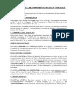 CONTRATO DE ARRENDAMIENTO DE BIEN INMUEBLE CON CLAUSULA DE ALLANAMIENTO.