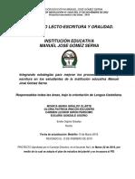 PROYECTO PLAN LECTO ESCRITURA Y ORALIDAD  2019