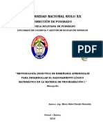 METODOLOGÍA DIDÁCTICA DE ENSEÑANZA APRENDIZAJE PARA DESARROLLAR EL RAZONAMIENTO LÓGICO MATEMÁTICO EN LA MATERIA DE PROGRAMACIÓN I