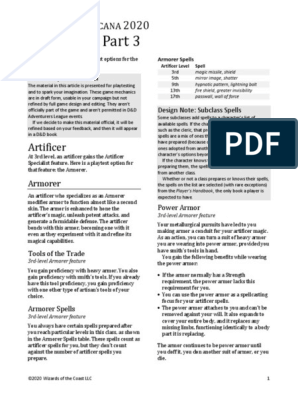 Ua2020 Subclasses03 0224 Pdf Anyone know what spell pretty sure you get most/all the artificer spell cards with the arcane spellbook cards available online. scribd
