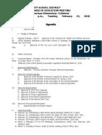 Watertown City School District Board of Education agenda Feb. 25, 2020