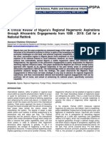 A Critical Review of Nigeria's Regional Hegemonic Aspirations through Afrocentric Engagements from 1999 - 2019