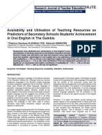 Availability and Utilisation of Teaching Resources as Predictors of Secondary Schools Students' Achievement in Oral English in The Gambia
