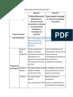 Matrices para el desarrollo de la fase 3
