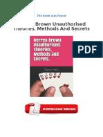Derren Brown Unauthorised Theories Methods And Secrets Ebook Free Download