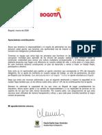 Carta Alcaldesa a Los Contribuyentes