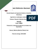 Produccion y demanda de los metales