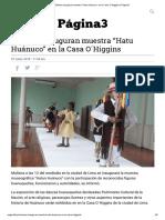 "Mañana inauguran muestra ""Hatu Huánuco"" en la Casa O´Higgins"