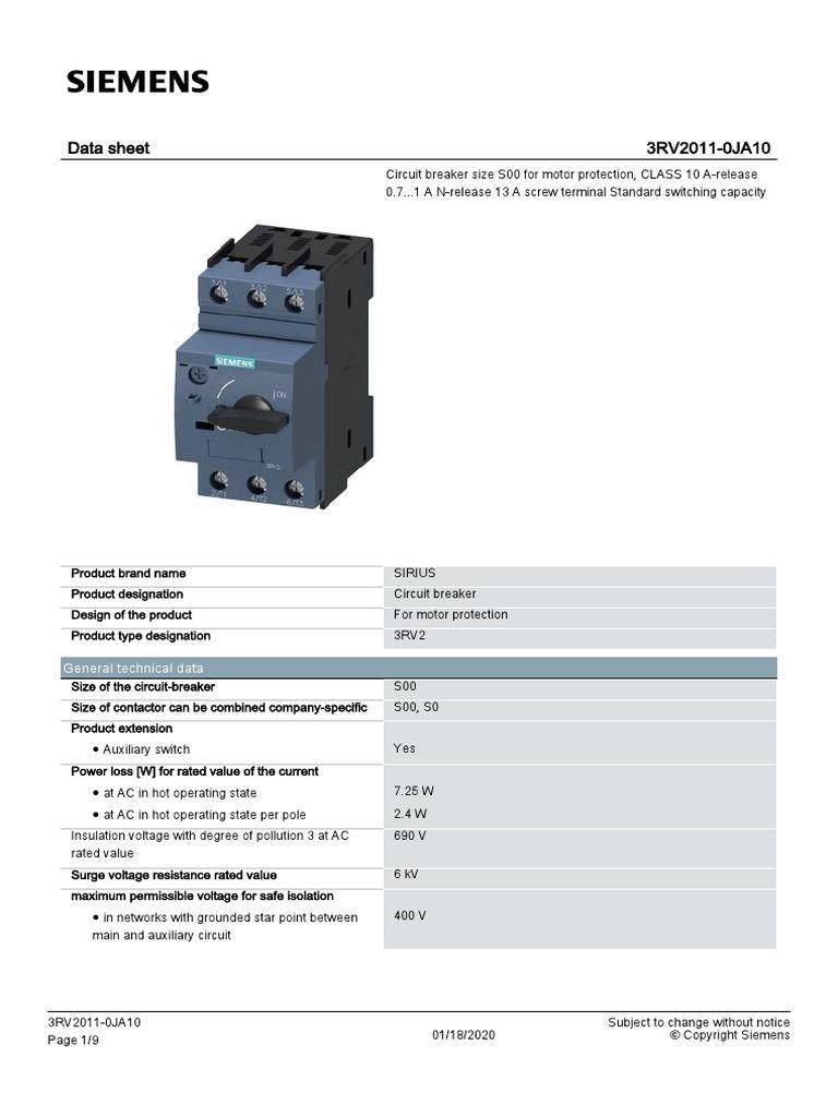 N-RELEASE 13A 3RV2011-0JA10 SIEMENS CIRCUIT BREAKER SIZE S00 SCREW TERMINAL CLASS 10 A-RELEASE 0.7-1A