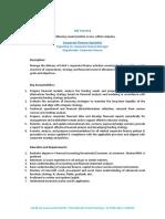 Job Vacancy - Corporate Finance Specialist